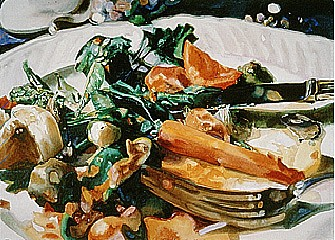 Carolyn Brady, Carrot Dinner/Le Vieux Manoir 1998, Watercolor on Paper