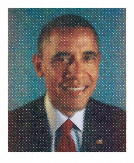 Chuck Close, Portrait of President Obama 2012, Watercolor brush stroke pigment print