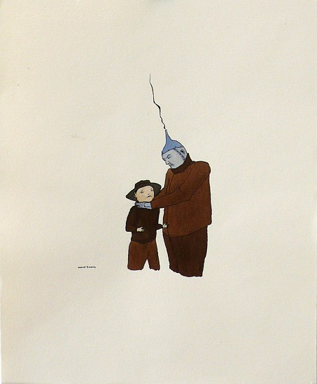 Marcel Dzama, Untitled (Tin Man) 1999, Ink, Watercolor & Rootbeer on Paper