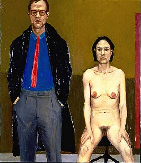 """William Beckman, Study for """"Overcoat"""" 1985, Oil on Panel"""