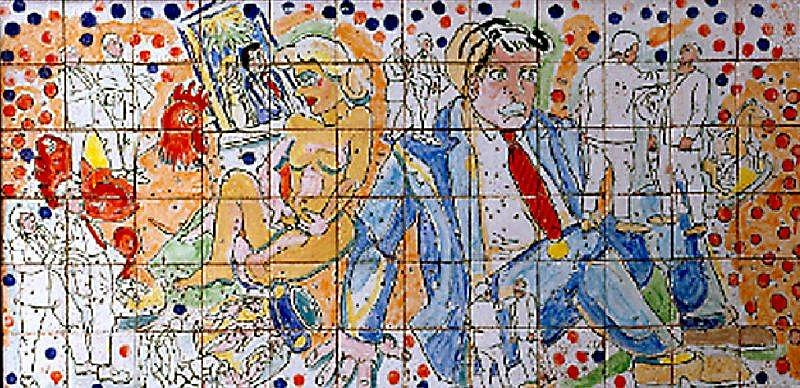 Viola Frey, World Civilization Tile Wall 1999, Ceramic
