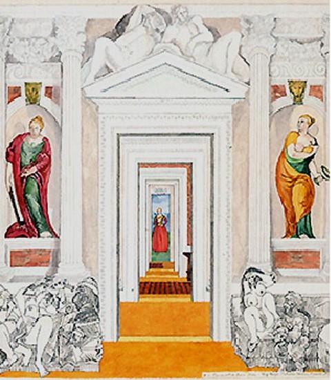 """Joyce Kozloff, Big Boys: Palladio, Veronese, Picasso et al. (#15  Patterns of Desire  """"Pornament is Crime"""") 1987, Watercolor on Paper"""