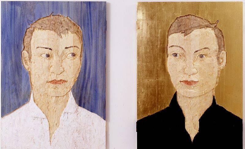 Stephan Balkenhol, 2 Grosse Kopfreliefs 2002, Wawa-wood, Colored
