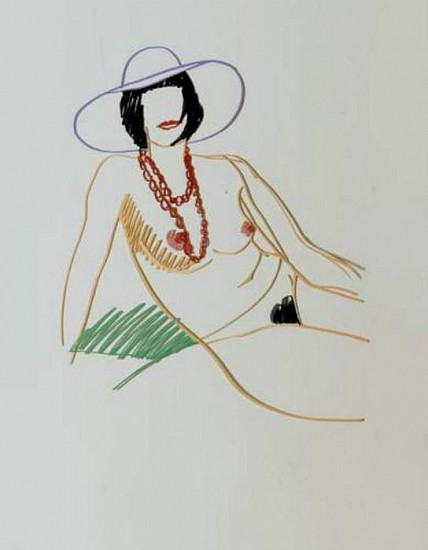 Tom Wesselmann, Monica Sitting in Hat and Beads, (Color Variant #3) 1989, Enamel on Laser-cut Steel