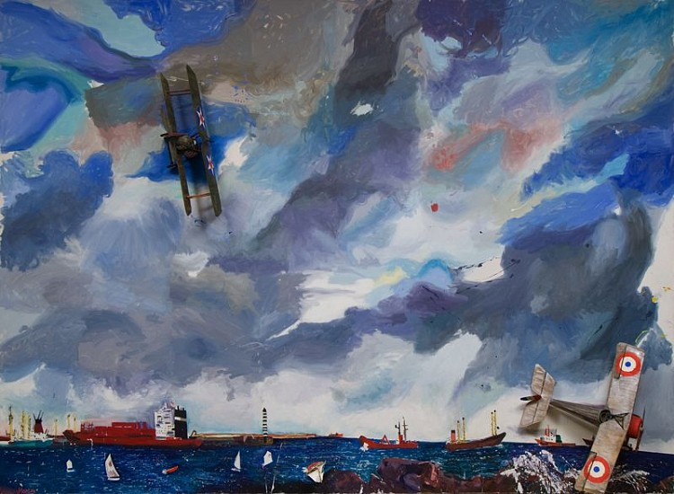 Malcolm Morley, Icarus 1993, Oil on Linen with Toy Airplanes (one rotating) and Boat
