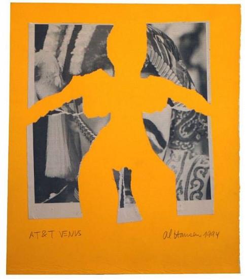 Al Hansen, AT&T Venus (Orange) 1994, Newspaper, Collage