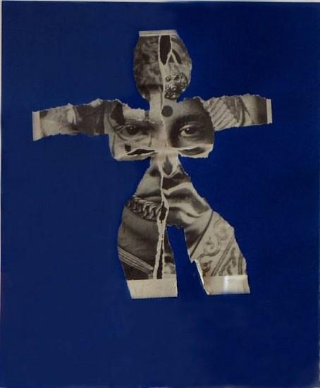 Al Hansen, AT&T Venus (Blue) 1994, Newspaper, Collage