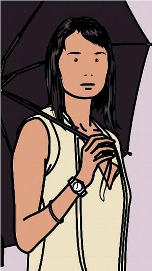 "Julian Opie, Hijiri with Umbrella 2005, Continuous Computer Animation; Computer film-40"" LCD Screen, PC"