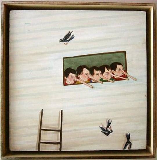 Amy Cutler, Bird Watchers 2002, Casein, Flashe on Wood