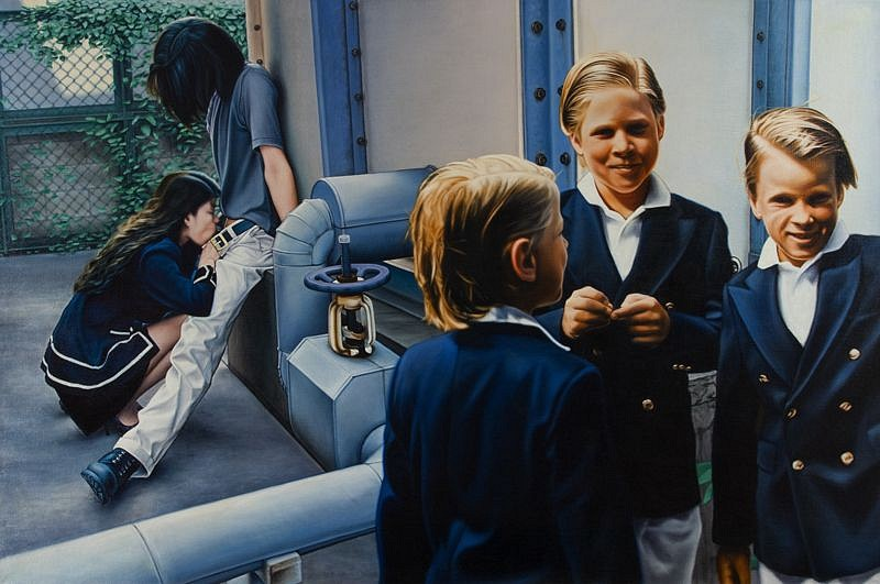 Damian Loeb, Blowjob (Three Little Boys) 1999, Oil on Linen