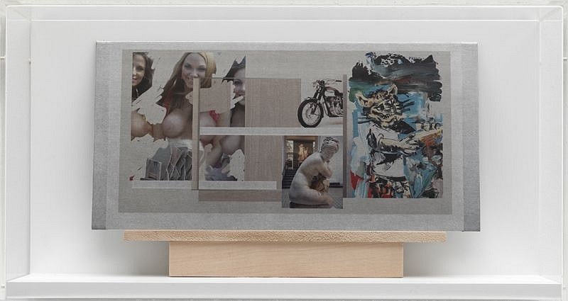 Richard Patterson, Aphrodite 2009, Collage on Aluminum with a Maple Bench