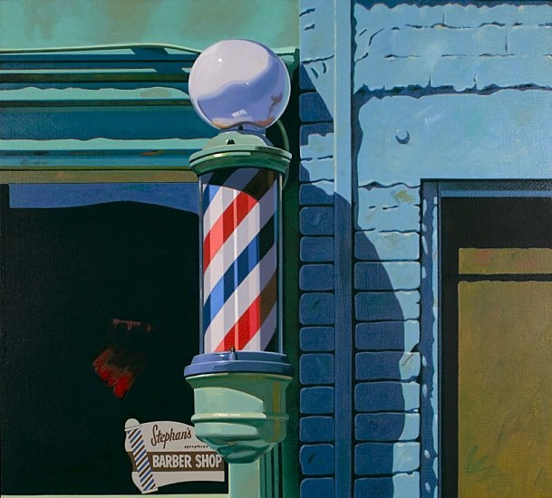 Robert Cottingham, Barber Shop 1988, Oil on Canvas