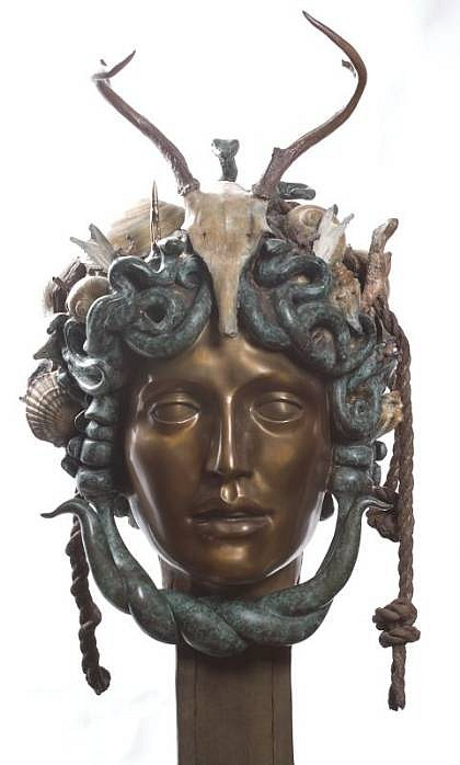 Audrey Flack, Colossal Head of Medusa 1991, Patinated and Gilded Bronze
