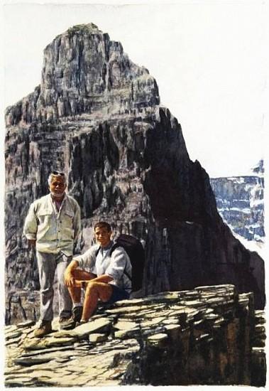 Tim Gardner, Untitled (Jim & Bhoadie on Mt. Temple) 2002, Watercolor on Paper
