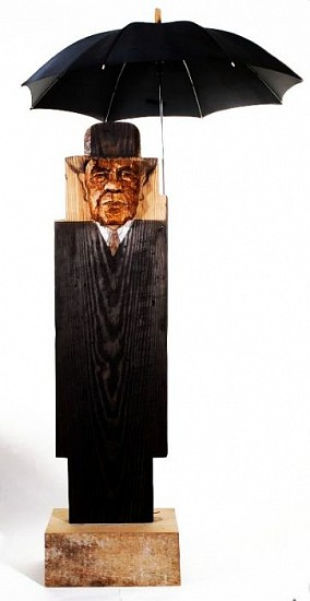 Marisol (Escobar), Magritte VI, (Pushed Out Face) 1998, Wood and Oil