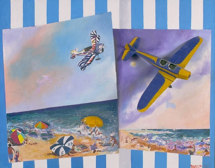 Malcolm Morley, Pictures from the Azores 1994, Mixed Media: Oil on Canvas with Painted Model Plane