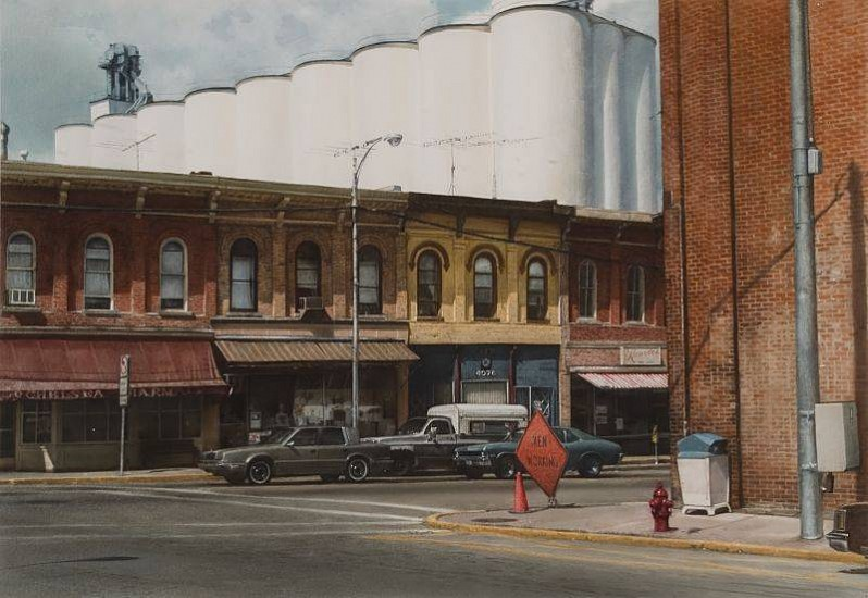 John Salt, Street Profile With Grain Elevators 1990, Watercolor on Paper