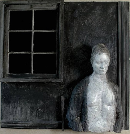 George Segal, Woman Against Black Window 1989-90, Plaster, Acrylic Paint, Wood, Glass