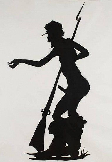 Kara Walker, Shiny Penny 1995, Cut Out Construction Paper Mounted on Paper