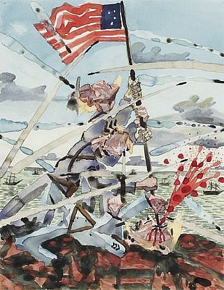 Barnaby Furnas, Untitled (Iwo Jima) 2000, Watercolor on Paper
