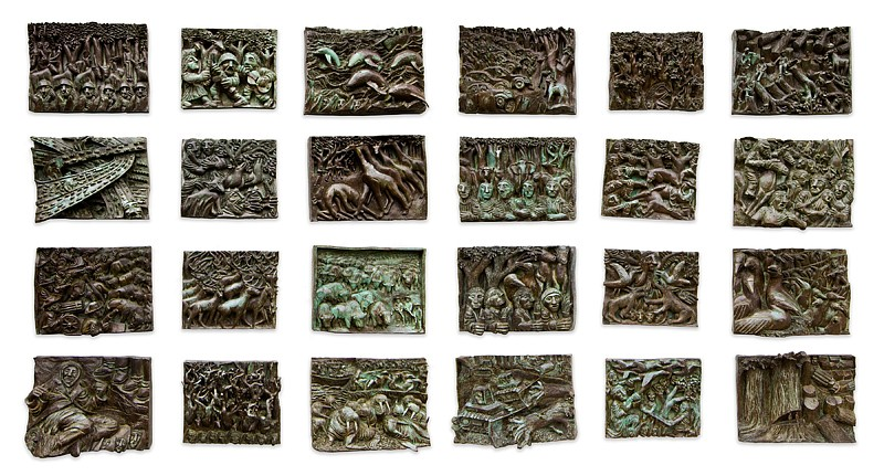 Peter Gourfain, Fate of the Earth (24 Bronze Panels on the Theme of Ecology) 1984-89, Cast Bronze