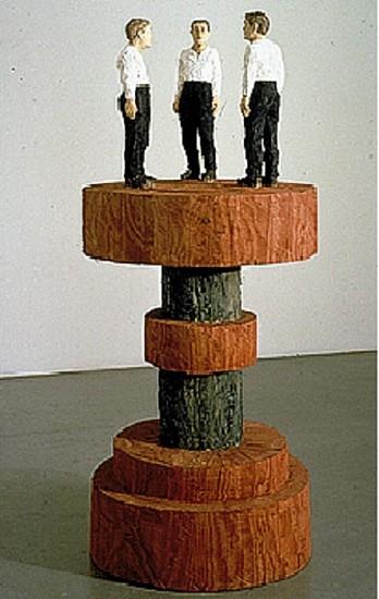 Stephan Balkenhol, Three Men on a Sculpted Pedestal 2000, Painted Douglas Fir
