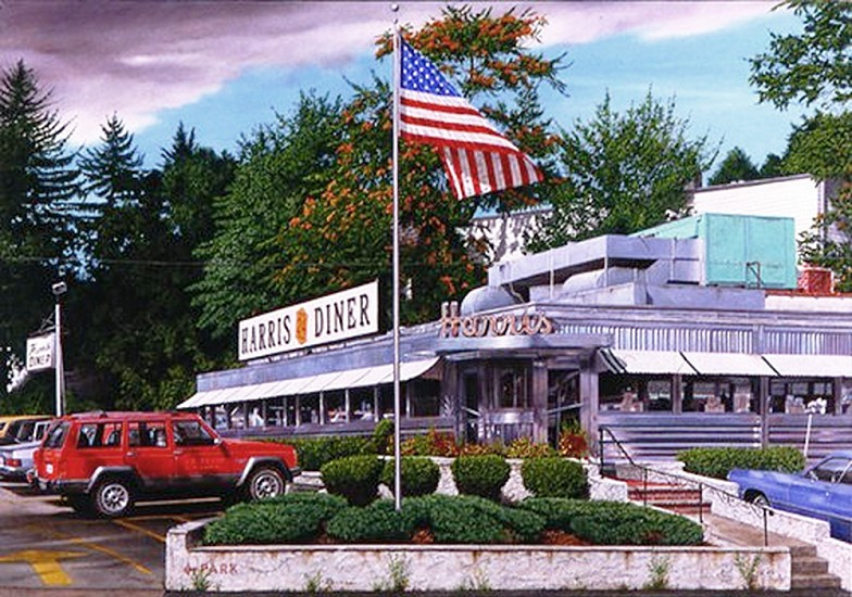 John Baeder, Harris Diner (East Orange, NJ) 1991, Oil on Canvas