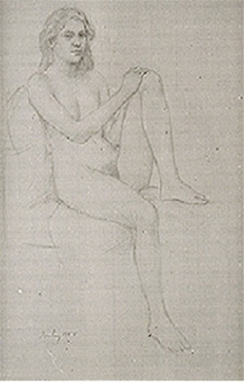 William Bailey, Untitled (Woman Seated on Chair) 1988, Graphite on Arches paper