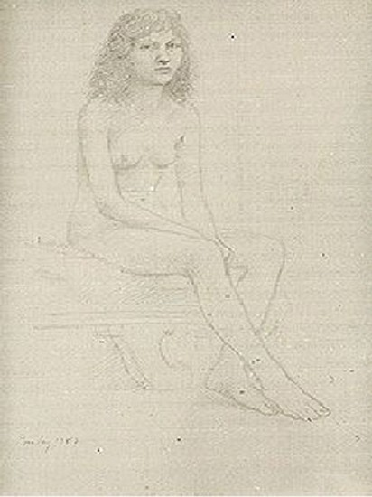 William Bailey, Untitled (Woman Seated on Couch) 1983, Graphite on Fabriano paper