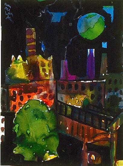 Romare Bearden, Green Moon 1982, Watercolor on Paper