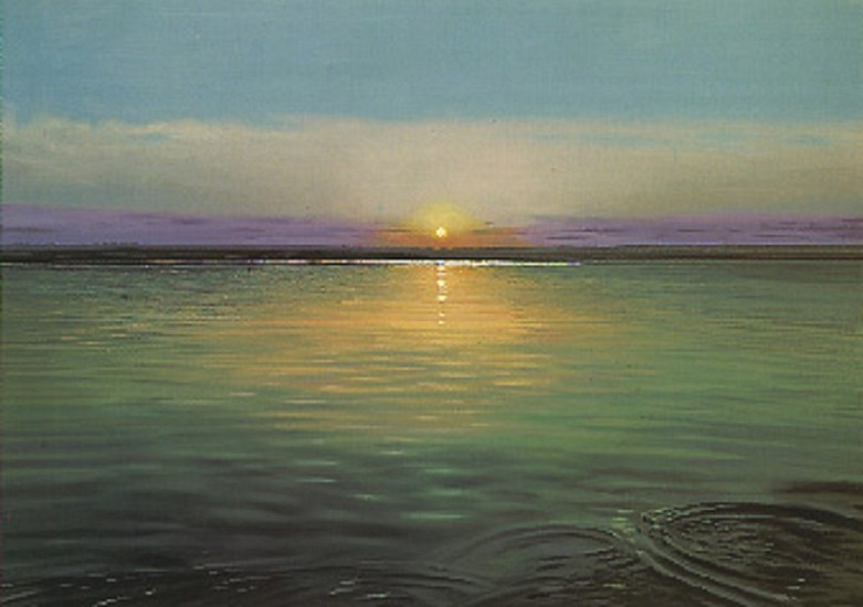 Richard Estes, Sunrise 1997, Oil on Canvas Mounted on Board
