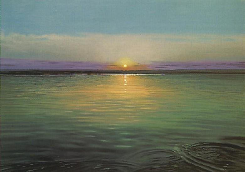 Richard Estes, Sunrise 1997, Oil on Canvas Mounted on Board