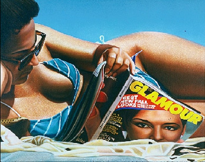 Curt Hoppe, Sun Bather with Glamour Magazine 1983-84, Oil on Canvas