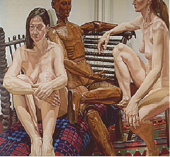 Philip Pearlstein, Models with Wooden Mannequin 1987, Oil on Canvas