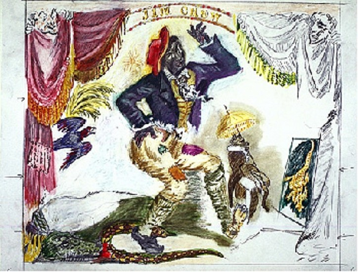 Larry Rivers, Thomas Rice in the Role of Jim Crow The Minstrel Dancer, The Auction and Other Visions of Slavery 1994, Pencil and Colored Pencil on Paper