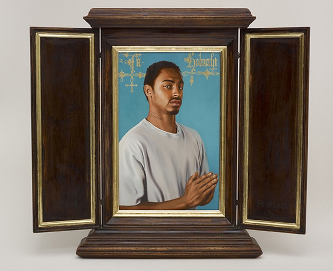 Kehinde Wiley, After Memling's Portrait of Jacob Obrecht 2013, Oil on Wood Panel in artist designed hand fabricated frame with 22K gold leaf gilding