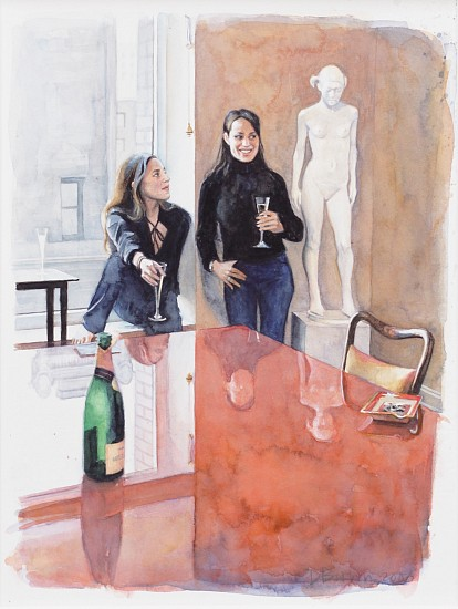 Delia Brown, Sarah and Jennifer by the Red Table 2003, Watercolor on Paper