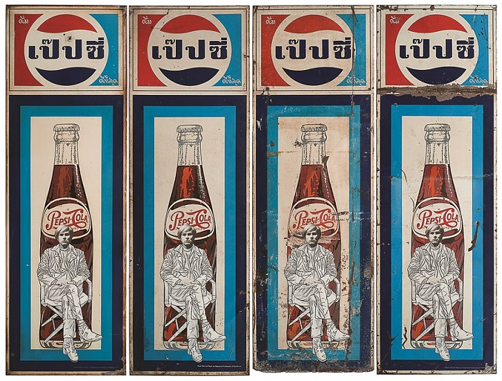 Pakpoom Silaphan, Four Times Andy Sits on Pepsi 2012, Mixed Media on Vintage Metal Sign