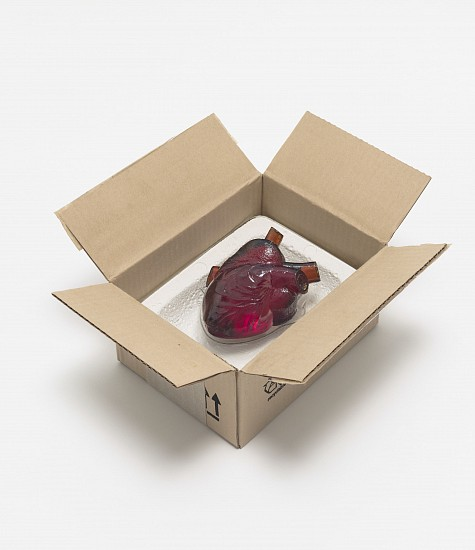Robert Gober, Heart in a Box 2014-2015, Corrugated Aluminum, Paper, Paint, Ink, Plaster, Cotton Thread, Cast and Slumped Glass