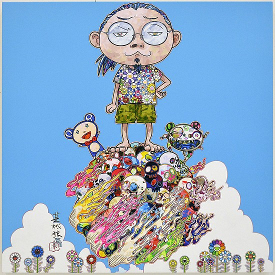 Takashi Murakami, Portrait and DOB Sky 2015, Acrylic on Canvas