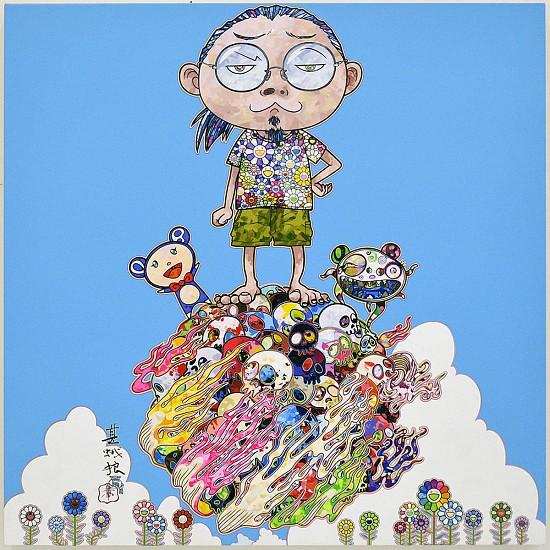 Takashi Murakami, Portrait and DOB Sky 2015, Acrylic on Canvas