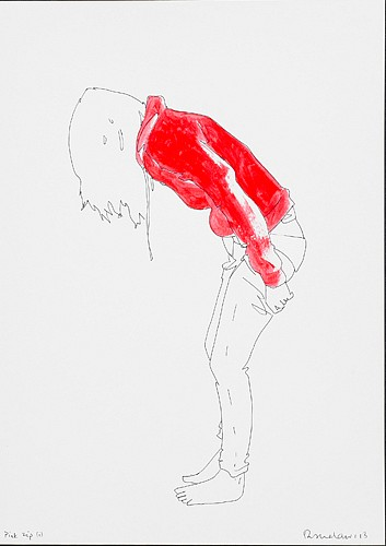 Natasha Law, Pink Zip 2013, Ink and Gloss Paint on Paper