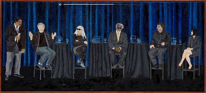 Leidy Churchman, Is the Universe a Simulation, Moderated by Neil deGrass Tyson 2017, Oil on Linen